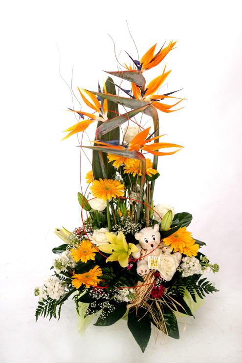 Centro de flores con peluche barcelona - Centro de flores naturales ...